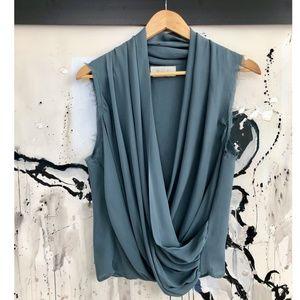 ALC Drape Front Silk Slate Grey Blouse Size S